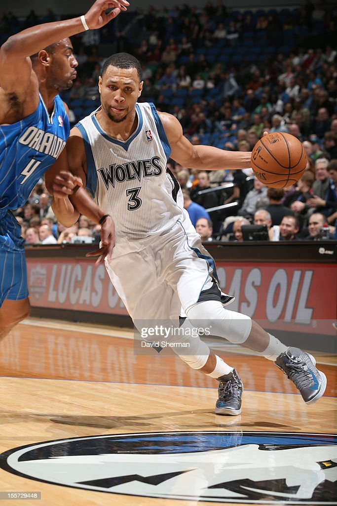 Brandon Roy #3 of the Minnesota Timberwolves drives against Arron Afflalo #4 of the Orlando Magic during the game between the Minnesota Timberwolves and the Orlando Magic on November 7, 2012 at Target Center in Minneapolis, Minnesota.