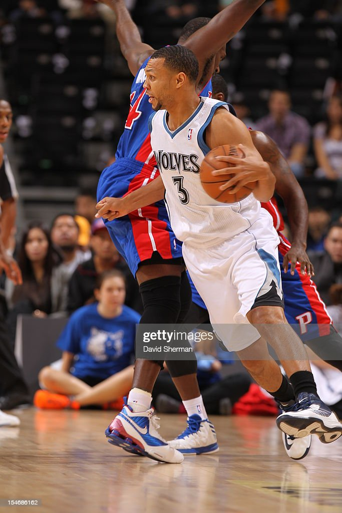 Brandon Roy #3 of the Minnesota Timberwolves drives the ball during the game between the Minnesota Timberwolves and the Detroit Pistons during the NBA preseason as part of NBA Canada Series 2012 on October 24, 2012 at the MTS Centre in Winnipeg, Manitoba, Canada.