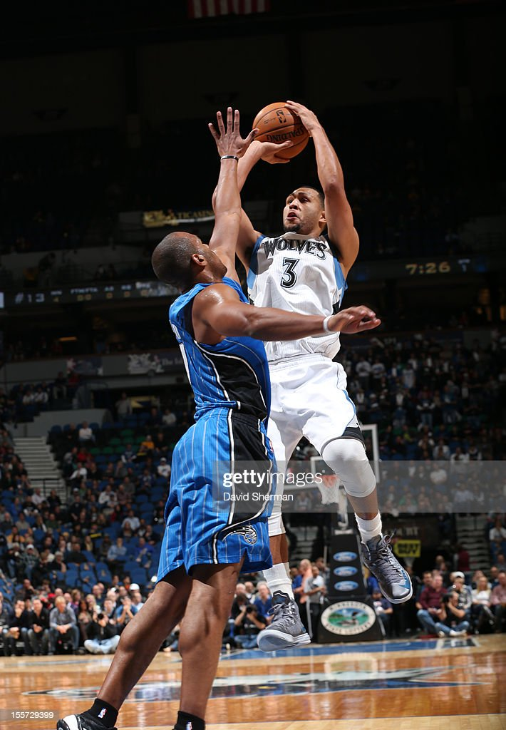 Brandon Roy #3 of the Minnesota Timberwolves goes for a jump shot during the game between the Minnesota Timberwolves and the Orlando Magic on November 7, 2012 at Target Center in Minneapolis, Minnesota.