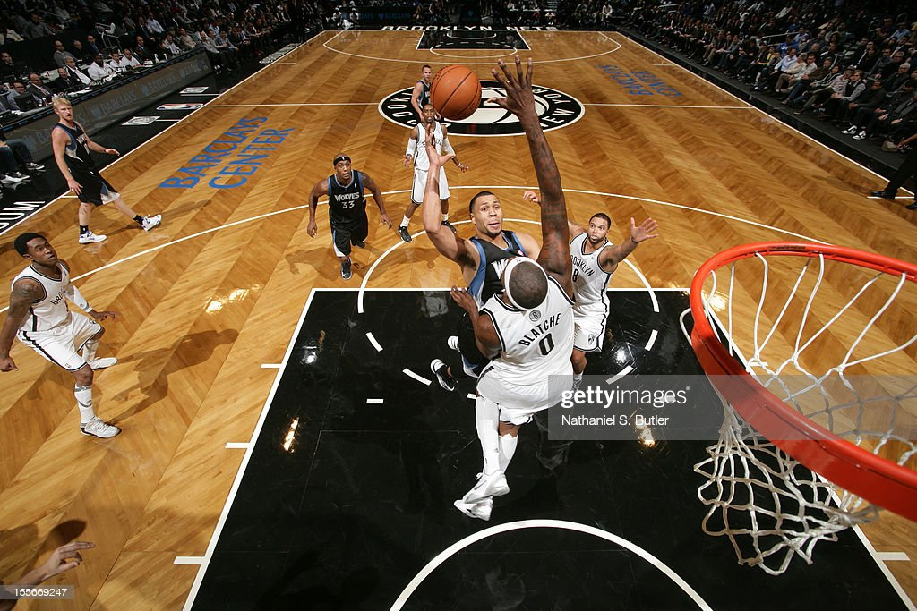 Brandon Roy #3 of the Minnesota Timberwolves shoots against Andray Blatche #0 of the Brooklyn Nets on November 5, 2012 at the Barclays Center in Brooklyn, New York.