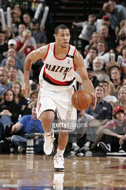 Brandon Roy of the Portland Trail Blazers drives down the court during a game against the Chicago Bulls on November 19 2008 at the Rose Garden Arena...