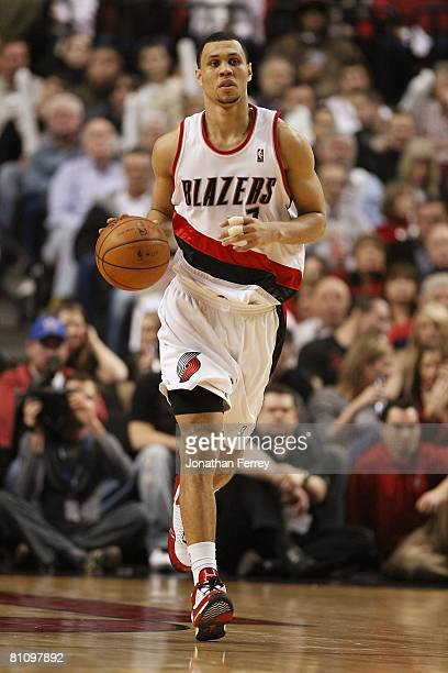 Brandon Roy of the Portland Trail Blazers drives the ball up court during the game against the Phoenix Suns on March 4 2008 at the Rose Garden in...