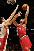 Brandon Roy of the Portland Trail Blazers goes to the basket against Andrea Bargnani of the Toronto Raptors during the game on February 24 2010 at...