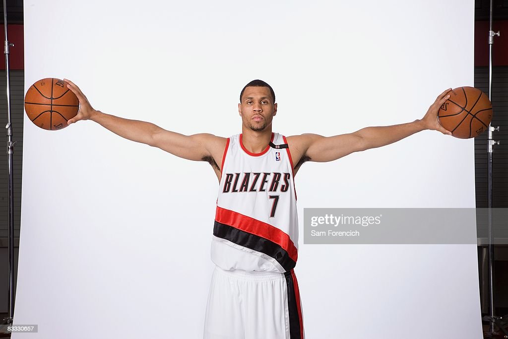 Brandon Roy #7 of the Portland Trail Blazers poses for a portrait during NBA Media Day on September 29, 2008 at the Rose Garden Arena in Portland, Oregon.