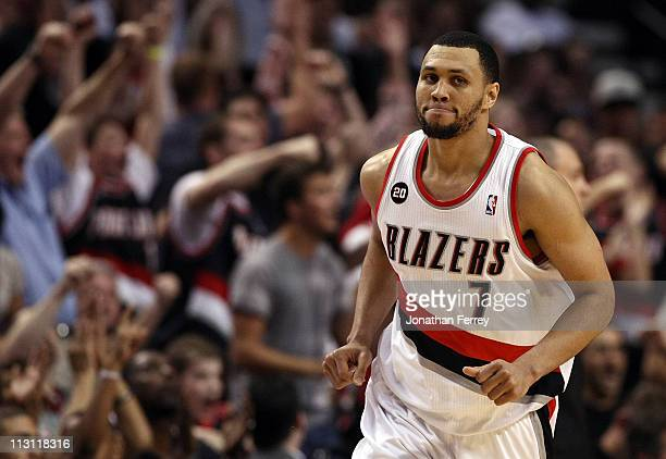 Brandon Roy of the Portland Trail Blazers runs down court after making a shot to overcome a 23 point deficit to defeat the the Dallas Mavericks 8482...