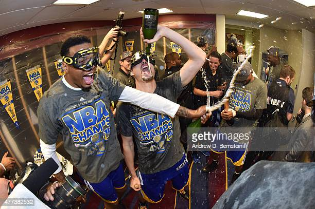 Brandon Rush and Klay Thompson of the Golden State Warriors celebrate with teamates in the locker room after a victory over the Cleveland Cavaliers...