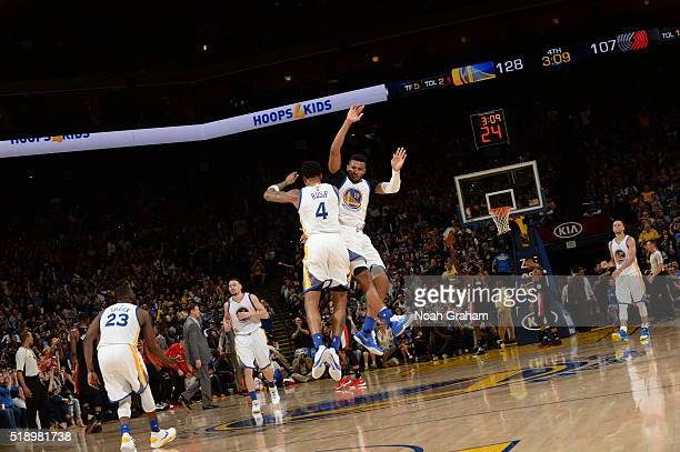 Brandon Rush of the Golden State Warriors and Leandro Barbosa of the Golden State Warriors celebrate during the game against the Portland Trail...