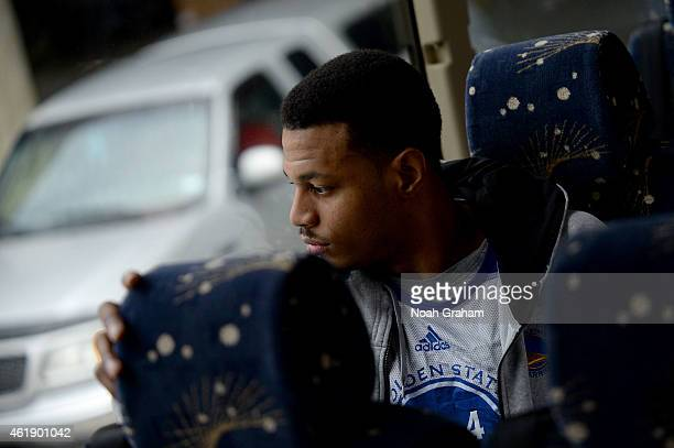 Brandon Rush of the Golden State Warriors boards the bus before the game against the Utah Jazz on January 13 2015 in Salt Lake City Utah NOTE TO USER...