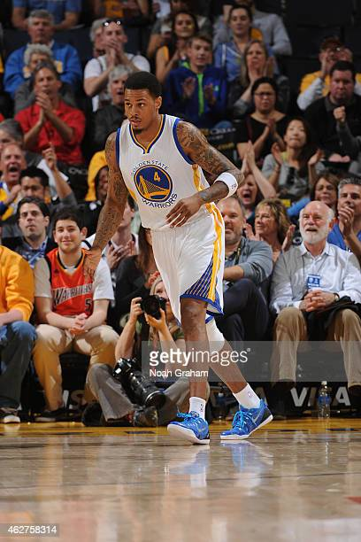 Brandon Rush of the Golden State Warriors celebrates during a game against the Denver Nuggets on January 19 2015 at Oracle Arena in Oakland...