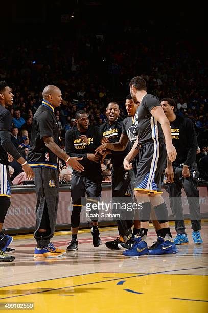 Brandon Rush of the Golden State Warriors celebrates with his teammates during the game against the Sacramento Kings on November 28 2015 at ORACLE...
