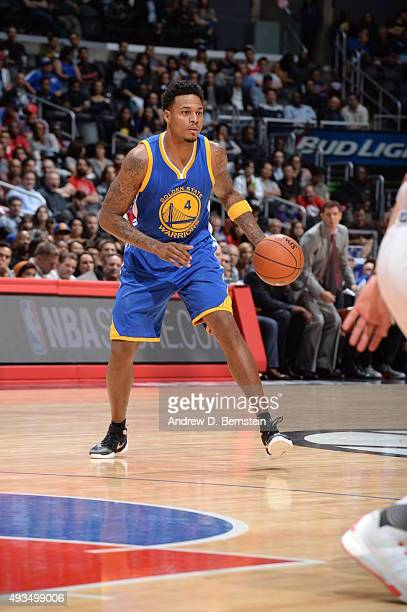 Brandon Rush of the Golden State Warriors dribbles the ball against the Los Angeles Clippers on October 20 2015 at STAPLES Center in Los Angeles...