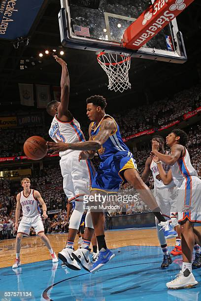 Brandon Rush of the Golden State Warriors drives to the basket and passes the ball against the Oklahoma City Thunder in Game Four of the Western...