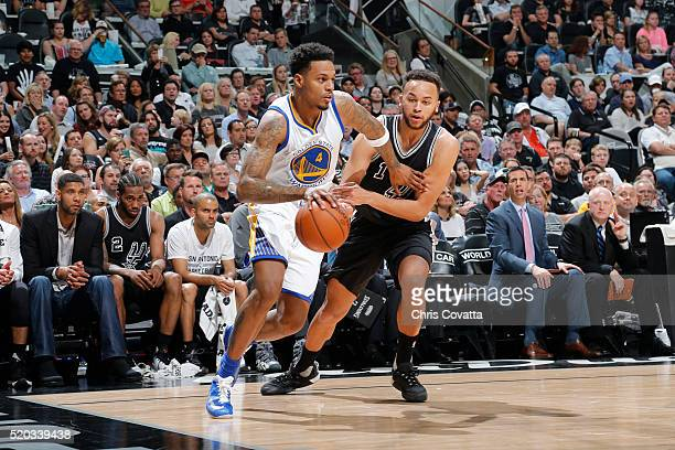 Brandon Rush of the Golden State Warriors drives to the basket against Kyle Anderson of the San Antonio Spurs on April 10 2016 at the ATT Center in...