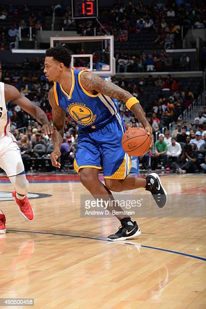 Brandon Rush of the Golden State Warriors drives to the basket against the Los Angeles Clippers on October 20 2015 at STAPLES Center in Los Angeles...