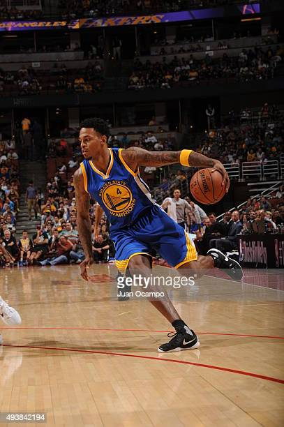 Brandon Rush of the Golden State Warriors drives to the basket against the Los Angeles Lakers during a preseason game on October 22 2015 at Honda...