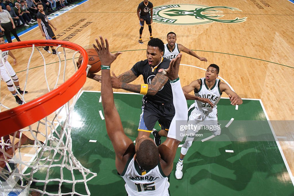 <a gi-track='captionPersonalityLinkClicked' href=/galleries/search?phrase=Brandon+Rush+-+Basketball+Player&family=editorial&specificpeople=802089 ng-click='$event.stopPropagation()'>Brandon Rush</a> #4 of the Golden State Warriors goes for the layup during the game against the Milwaukee Bucks on December 12, 2015 at the BMO Harris Bradley Center in Milwaukee, Wisconsin.