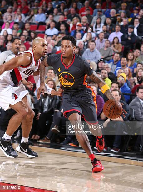 Brandon Rush of the Golden State Warriors handles the ball against the Portland Trail Blazers on February 19 2016 at the Moda Center Arena in...
