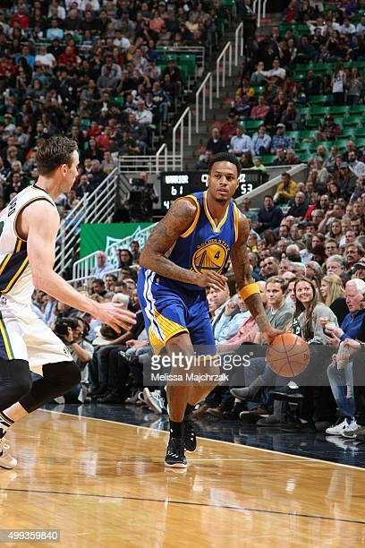 Brandon Rush of the Golden State Warriors handles the ball during the game against the Utah Jazz on November 30 2015 at EnergySolutions Arena in Salt...
