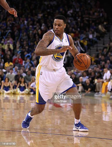 Brandon Rush of the Golden State Warriors in action against the Portland Trail Blazers at Oracle Arena on February 15 2012 in Oakland California NOTE...