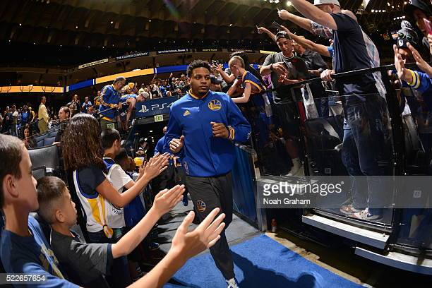Brandon Rush of the Golden State Warriors runs out before the game against the Minnesota Timberwolves on April 5 2016 at Oracle Arena in Oakland...