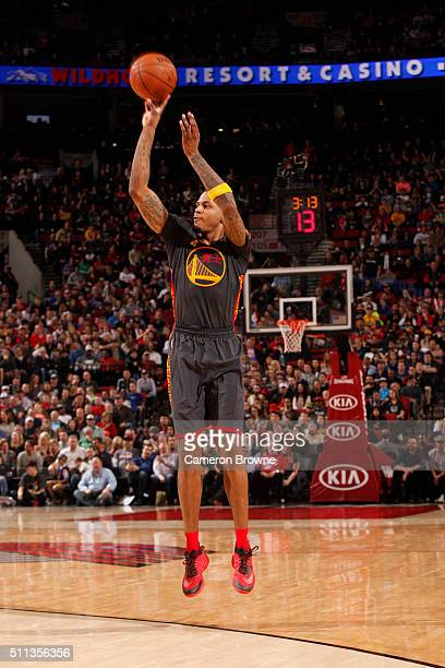 Brandon Rush of the Golden State Warriors shoots the ball against the Portland Trail Blazerson February 19 2016 at the Moda Center in Portland Oregon...