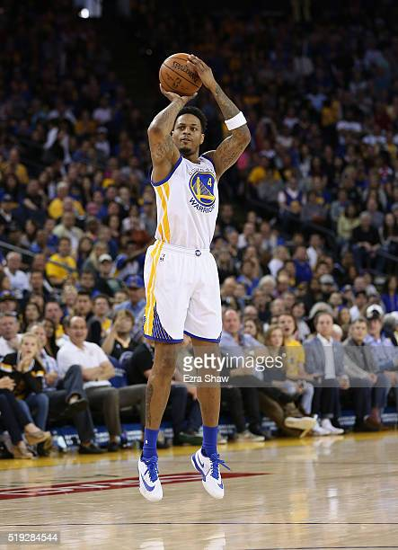 Brandon Rush of the Golden State Warriors shoots the ball against the Portland Trail Blazers at ORACLE Arena on April 3 2016 in Oakland California...