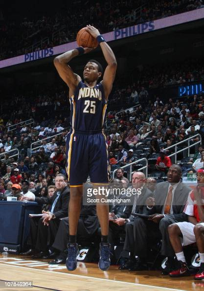 Brandon Rush of the Indiana Pacers shoots the ball during a game against the Atlanta Hawks on December 11 2010 at Philips Arena in Atlanta Georgia...