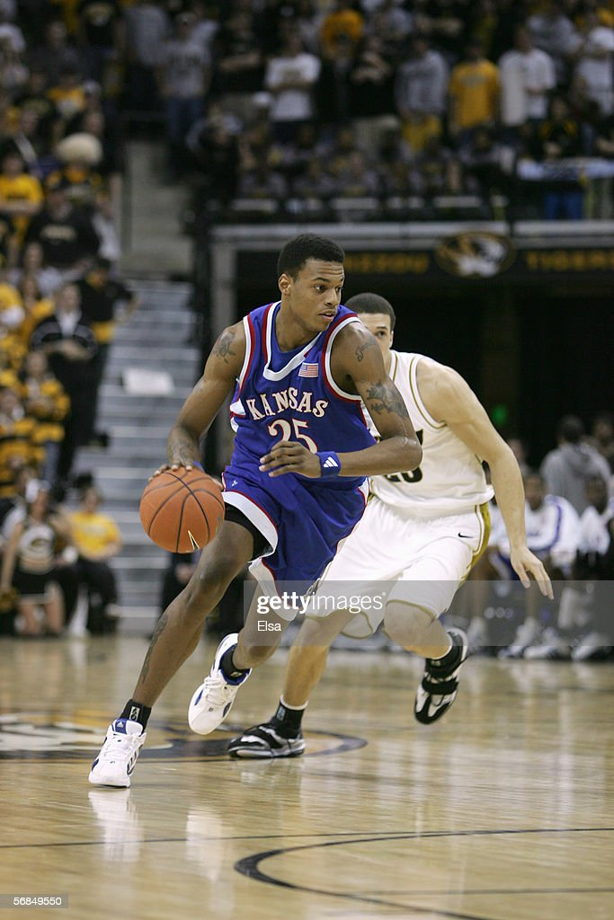 Brandon Rush of the Kansas Jayhawks drives the ball upcourt against the Missouri Tigers on January 162006 at Mizzou Arena in Columbia Missouri...