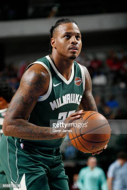 Brandon Rush of the Milwaukee Bucks shoots a free throw against the Dallas Mavericks during the preseason game on October 2 2017 at the American...
