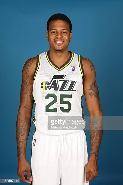 Brandon Rush of the Utah Jazz poses for a photo during 2013 Media Day at Zions Basketball Center on September 30 2013 in Salt Lake City Utah NOTE TO...