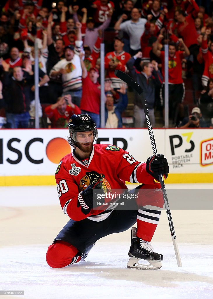 Brandon Saad of the Chicago Blackhawks celebrates a third period goal against the Tampa Bay Lightning during Game Three of the 2015 NHL Stanley Cup...