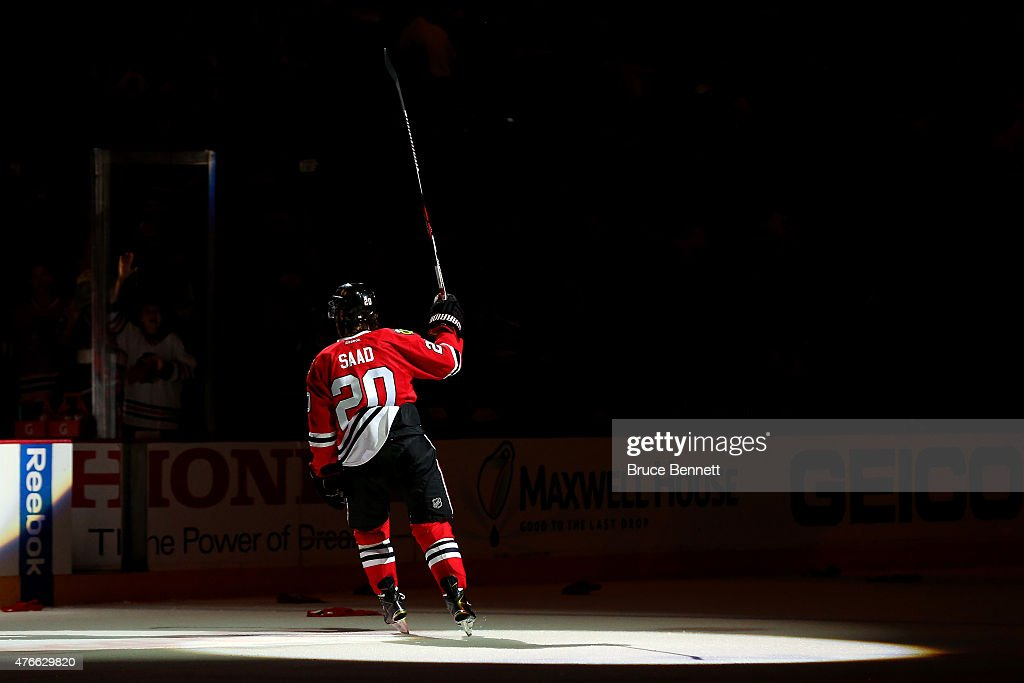 Brandon Saad of the Chicago Blackhawks celebrates after defeating the Tampa Bay Lightning 2 to 1 in Game Four of the 2015 NHL Stanley Cup Final at...