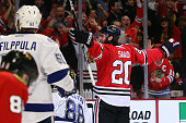 Brandon Saad of the Chicago Blackhawks celebrates after scoring a goal in the third period against Andrei Vasilevskiy of the Tampa Bay Lightning...