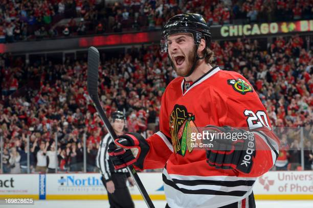Brandon Saad of the Chicago Blackhawks celebrates after the Hawks score a goal in Game Two of the Western Conference Final against the Los Angeles...