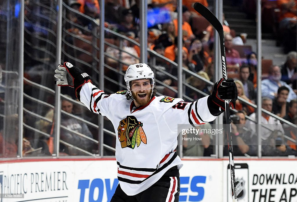 <a gi-track='captionPersonalityLinkClicked' href=/galleries/search?phrase=Brandon+Saad&family=editorial&specificpeople=7128385 ng-click='$event.stopPropagation()'>Brandon Saad</a> #20 of the Chicago Blackhawks celebrates his second period goal against the Anaheim Ducks in Game Seven of the Western Conference Finals during the 2015 NHL Stanley Cup Playoffs at the Honda Center on May 30, 2015 in Anaheim, California.
