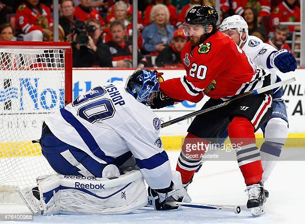 Brandon Saad of the Chicago Blackhawks collides with goaltender Brandon Saad of the Chicago Blackhawks during the second period of Game Three of the...