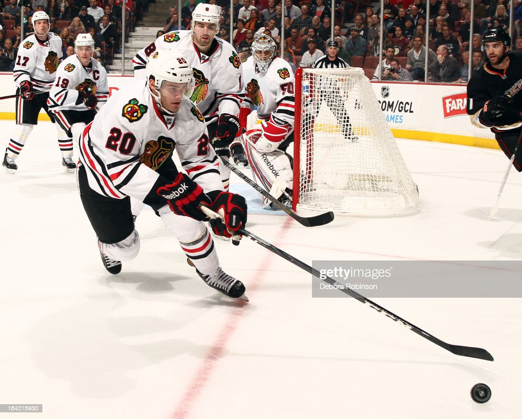 <a gi-track='captionPersonalityLinkClicked' href=/galleries/search?phrase=Brandon+Saad&family=editorial&specificpeople=7128385 ng-click='$event.stopPropagation()'>Brandon Saad</a> #20 of the Chicago Blackhawks handles the puck during the game against the Anaheim Ducks on March 20, 2013 at Honda Center in Anaheim, California.