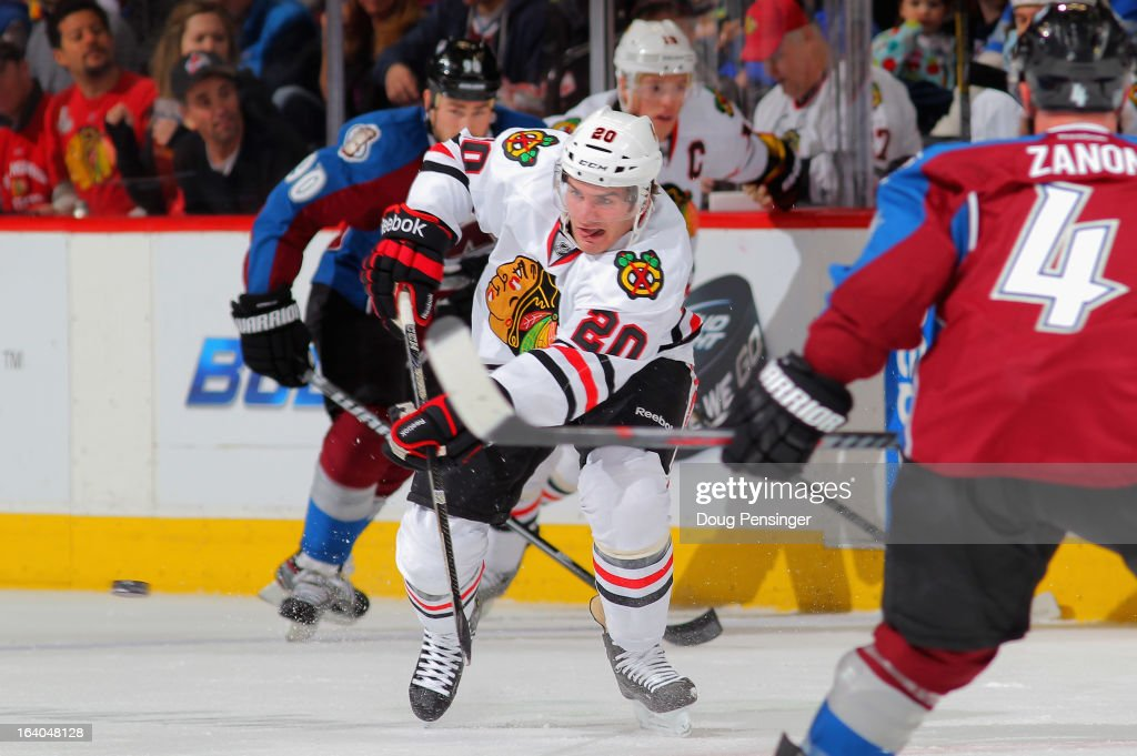 <a gi-track='captionPersonalityLinkClicked' href=/galleries/search?phrase=Brandon+Saad&family=editorial&specificpeople=7128385 ng-click='$event.stopPropagation()'>Brandon Saad</a> #20 of the Chicago Blackhawks passes the puck against the Colorado Avalanche at the Pepsi Center on March 18, 2013 in Denver, Colorado. The Blackhawks defeated the Avalanche 5-2.