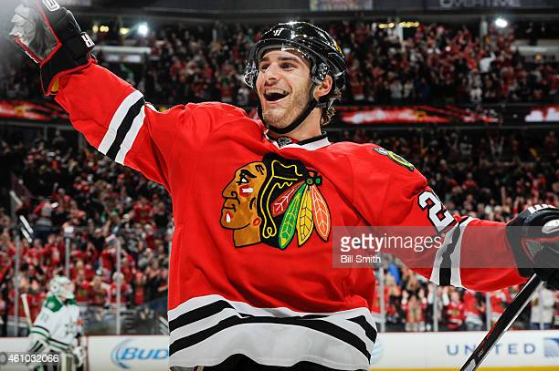 Brandon Saad of the Chicago Blackhawks reacts after Patrick Sharp scored the game winning goal against the Dallas Stars in overtime of the NHL game...