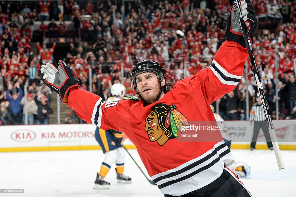 <a gi-track='captionPersonalityLinkClicked' href=/galleries/search?phrase=Brandon+Saad&family=editorial&specificpeople=7128385 ng-click='$event.stopPropagation()'>Brandon Saad</a> #20 of the Chicago Blackhawks reacts after scoring against the Nashville Predators in the third period during Game Four of the Western Conference Quarterfinals during the 2015 NHL Stanley Cup Playoffs at the United Center on April 21, 2015 in Chicago, Illinois.
