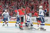 Brandon Saad of the Chicago Blackhawks reacts after scoring against the Tampa Bay Lightning in the third period during Game Four of the 2015 NHL...