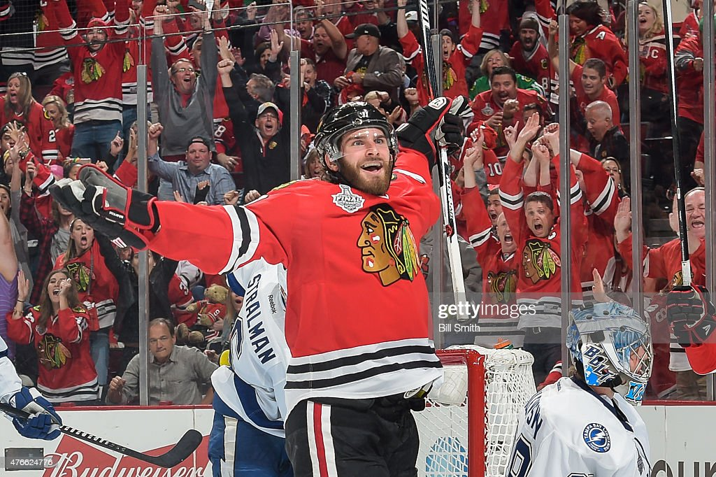 <a gi-track='captionPersonalityLinkClicked' href=/galleries/search?phrase=Brandon+Saad&family=editorial&specificpeople=7128385 ng-click='$event.stopPropagation()'>Brandon Saad</a> #20 of the Chicago Blackhawks reacts after scoring against the Tampa Bay Lightning in the third period during Game Four of the 2015 NHL Stanley Cup Final at the United Center on June 10, 2015 in Chicago, Illinois.