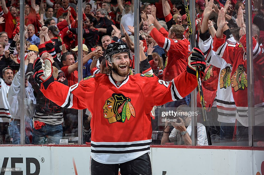 Brandon Saad #20 of the Chicago Blackhawks reacts after scoring against the Los Angeles Kings in the first period in Game Seven of the Western Conference Final during the 2014 NHL Stanley Cup Playoffs at the United Center on June 01, 2014 in Chicago, Illinois.