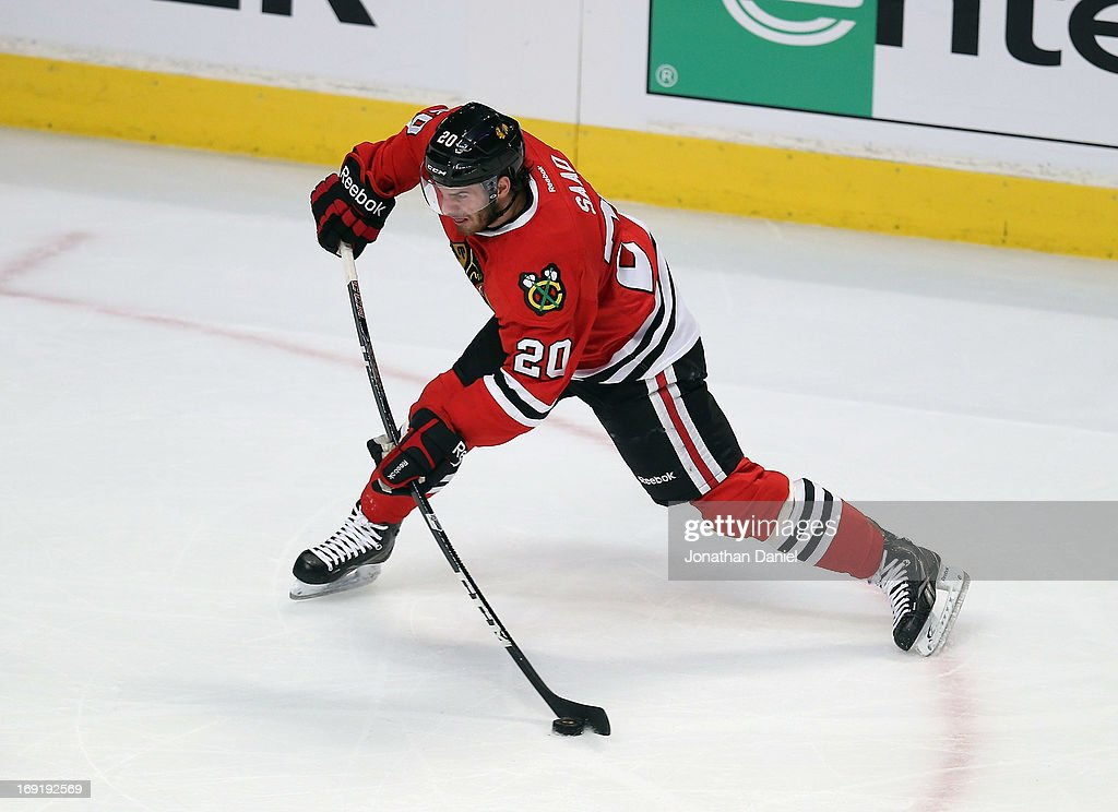 <a gi-track='captionPersonalityLinkClicked' href=/galleries/search?phrase=Brandon+Saad&family=editorial&specificpeople=7128385 ng-click='$event.stopPropagation()'>Brandon Saad</a> #20 of the Chicago Blackhawks shoots against the Detroit Red Wings in Game Two of the Western Conference Semifinals during the 2013 NHL Stanley Cup Playoffs at the United Center on May 18, 2013 in Chicago, Illinois. The Red Wings defeated the Blackhawks 4-1.