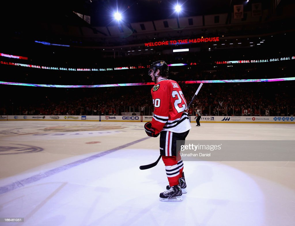 <a gi-track='captionPersonalityLinkClicked' href=/galleries/search?phrase=Brandon+Saad&family=editorial&specificpeople=7128385 ng-click='$event.stopPropagation()'>Brandon Saad</a> #20 of the Chicago Blackhawks skates back to the bench after scoring the game-winning goal in a shootout against the Detroit Red Wings at the United Center on April 12, 2013 in Chicago, Illinois. The Blackhawks defeated the Redwings 3-2 in a shootout.