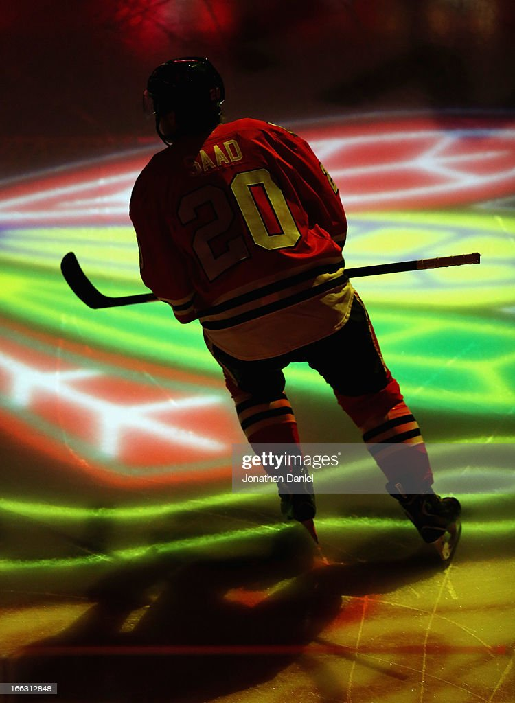 <a gi-track='captionPersonalityLinkClicked' href=/galleries/search?phrase=Brandon+Saad&family=editorial&specificpeople=7128385 ng-click='$event.stopPropagation()'>Brandon Saad</a> #20 of the Chicago Blackhawks skates onto the ice before taking on the Nashville Predators at the United Center on April 7, 2013 in Chicago, Illinois. The Blackhawks defeated the Predators 5-3.