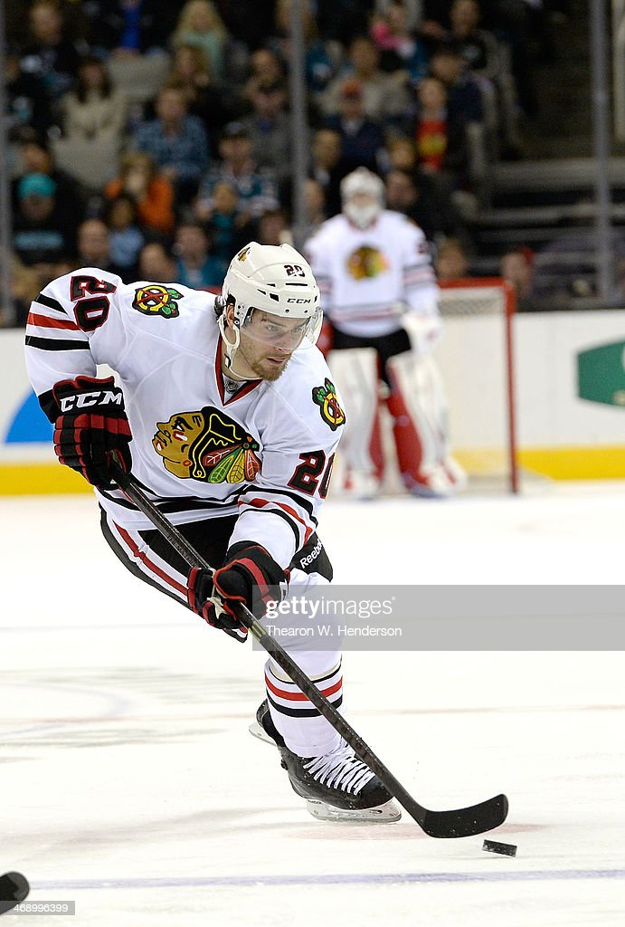 <a gi-track='captionPersonalityLinkClicked' href=/galleries/search?phrase=Brandon+Saad&family=editorial&specificpeople=7128385 ng-click='$event.stopPropagation()'>Brandon Saad</a> #20 of the Chicago Blackhawks skates with control of the puck against the San Jose Sharks during the third period at SAP Center on February 1, 2014 in San Jose, California.
