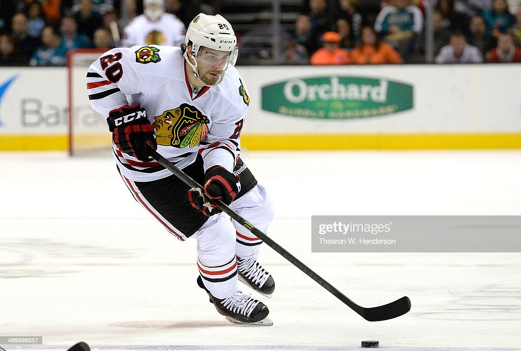 Brandon Saad #20 of the Chicago Blackhawks skates with control of the puck against the San Jose Sharks during the third period at SAP Center on February 1, 2014 in San Jose, California.