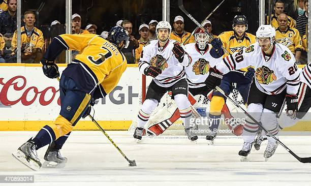 Brandon Saad of the Chicago Blackhawks watches Seth Jones of the Nashville Predators line up a shot during the third period of Game Five of the...