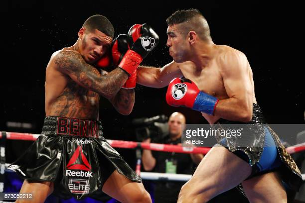 Brandon Sanudo punches Conor Benn during their Junior middleweight bout at Nassau Veterans Memorial Coliseum on November 11 2017 in Uniondale New York